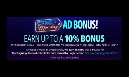 JuicyAds Touts Cyber Monday Promo; Prize Includes Hugh Hefner Memorabilia